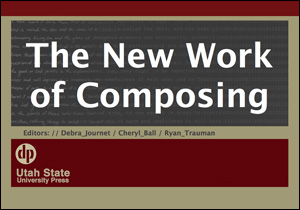 The New Work of Composing. Title text is white and laid against a gray and red background.