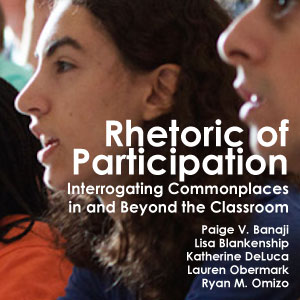 Book cover for The Rhetoric of Participation, which features a photo of students engaged in class.