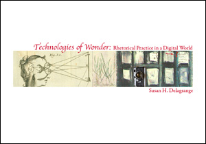 Cover image of Technologies of Wonder, featuring a collage of images that includes a drawing of a face with angled lines extending from the eyes, painted rectangular tiles, and a camera.